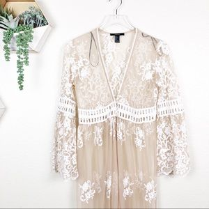Forever 21 Sweaters - Forever 21 cream white lace boho duster cardigan
